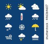 Set Of Pixel Weather Icons