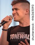 Small photo of NEW YORK CITY -JUNE 24 2016: NYC PRIDE weekend started off with a rally on Hudson Park Pier 26. Members of the Tonewalls a cappella singing group