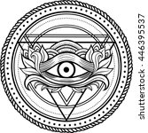 blackwork dotwork tattoo. eye... | Shutterstock .eps vector #446395537