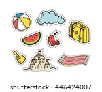 summer and travel themed cute... | Shutterstock .eps vector #446424007