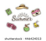 summer and travel themed cute... | Shutterstock .eps vector #446424013