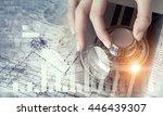woman open safe . mixed media | Shutterstock . vector #446439307