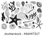 hand  drawn set of underwater... | Shutterstock .eps vector #446447317
