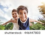happy brothers having fun... | Shutterstock . vector #446447803