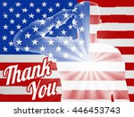 a soldier saluting with... | Shutterstock .eps vector #446453743