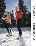 cross country skiers smiling as ... | Shutterstock . vector #44645407