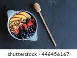 healthy breakfast in blue bowl... | Shutterstock . vector #446456167