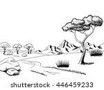 savannah pathway graphic art... | Shutterstock .eps vector #446459233