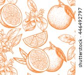 oranges  and flowers. vector... | Shutterstock .eps vector #446492797