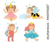 set of four little girls... | Shutterstock .eps vector #446545687