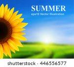 summer landscape with sunflower ... | Shutterstock .eps vector #446556577