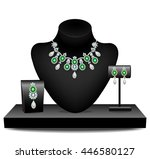 necklaces  earrings and brooch... | Shutterstock .eps vector #446580127