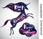 watercolor prancing unicorn...   Shutterstock .eps vector #446584993