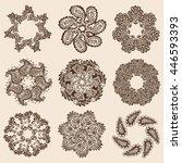vector set of hena round... | Shutterstock .eps vector #446593393