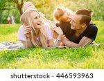 family lying on grass in...   Shutterstock . vector #446593963
