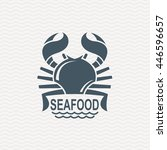 monochrome seafood icon with... | Shutterstock .eps vector #446596657