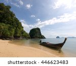 traditional long tail boat on a ... | Shutterstock . vector #446623483