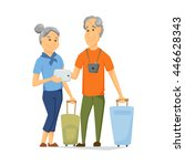 seniors travel with suitcase... | Shutterstock .eps vector #446628343