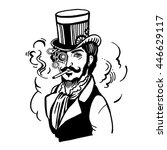 steampunk man in top hat and... | Shutterstock .eps vector #446629117