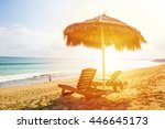 sun loungers and a beach... | Shutterstock . vector #446645173