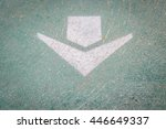 white arrow on green paint... | Shutterstock . vector #446649337