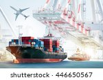 container cargo ship and cargo... | Shutterstock . vector #446650567