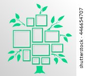tree with frames on the wall.... | Shutterstock .eps vector #446654707