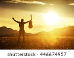 man with guitar on sunset... | Shutterstock . vector #446674957