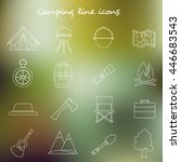 camping line icons collection.... | Shutterstock .eps vector #446683543