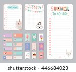 cute calendar daily and weekly... | Shutterstock .eps vector #446684023