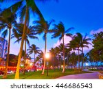 miami beach south beach sunset... | Shutterstock . vector #446686543