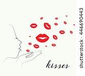 vector of kissing day poster... | Shutterstock .eps vector #446690443