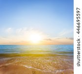 quiet sunset over a sea coast | Shutterstock . vector #446695597
