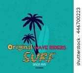 original surf wave riders ... | Shutterstock .eps vector #446700223