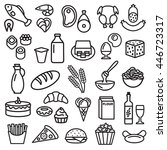 set of food icons outline... | Shutterstock . vector #446723317