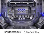 sci fi space station corridor... | Shutterstock . vector #446728417