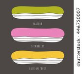 set of vector eclairs in... | Shutterstock .eps vector #446730007