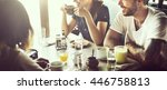 cafe coffee enjoyment happiness ... | Shutterstock . vector #446758813