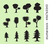 tree silhouettes collection | Shutterstock .eps vector #446763343