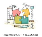 sketch of working little people ... | Shutterstock .eps vector #446765533