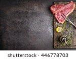 raw t bone steak for grill or... | Shutterstock . vector #446778703