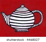 Painting / illustration of black and white striped teapot on red background. I am the artist and hold the copyright. - stock photo