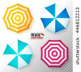 vector top view colorful beach... | Shutterstock .eps vector #446812213