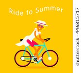 girl on bike vector with the... | Shutterstock .eps vector #446815717
