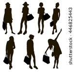 shopping silhouettes | Shutterstock .eps vector #446825443