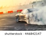 Small photo of Blured car drifting, motion blur drift