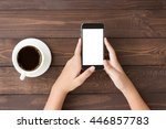 phone white screen in woman... | Shutterstock . vector #446857783