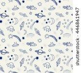 hand drawn doodle spaceships... | Shutterstock . vector #446861947