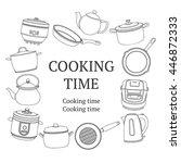 outlined kitchen utensils banner | Shutterstock .eps vector #446872333