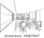interior outline sketch drawing ... | Shutterstock .eps vector #446879647